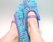 Women's Mary Jane Slippers - Cool Colors - Handmade Crochet Cozy House Shoes