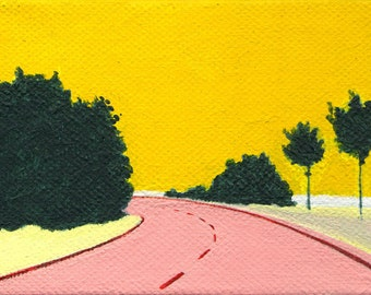 Yellow Sky. original tiny landscape painting
