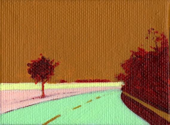 Ocher sky. Original little landscape painting
