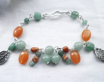 Green and Orange Bracelet and Earring Set Featuring Green Jade and Red Aventurine
