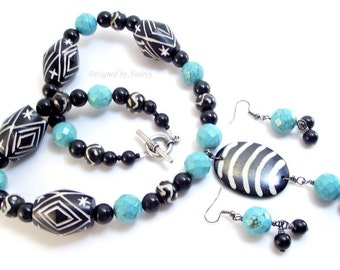 Necklace and Earring Set - Turquoise, Black and White Beaded Necklace with Matching Earrings