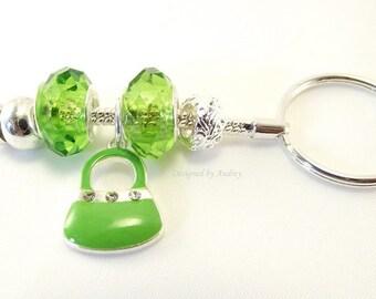 Green Crystal Key Ring With Cute Green Handbag Charm - Green Key Chain