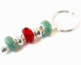 Key Chain - Blue Turquoise and Red Crystals Charms