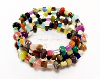 Memory Wire - Colorful Gem Beaded Bracelet