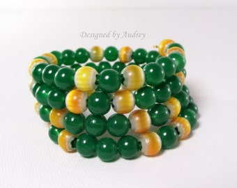 Memory Wire - Green and Yellow Chevron Beaded Bracelet