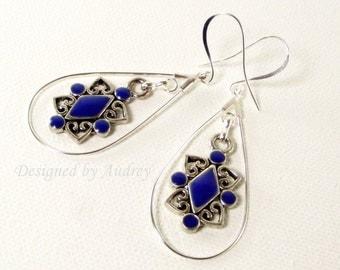 Earrings - Silver and Blue Hoop Earrings