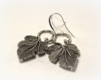 Simple Silver Leaf Earrings - Silver Earrings