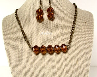 Necklace Set  - Caramel Crystal Necklace and Earring Set - Vintage Styled