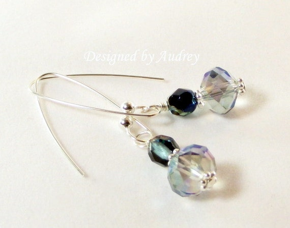 Earrings - Northern Lights Deep Blue Crystal Earrings