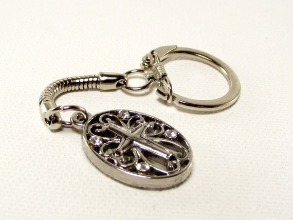 Crystal Encrusted Oval Cross Keychain - Divinely Inspired Collection