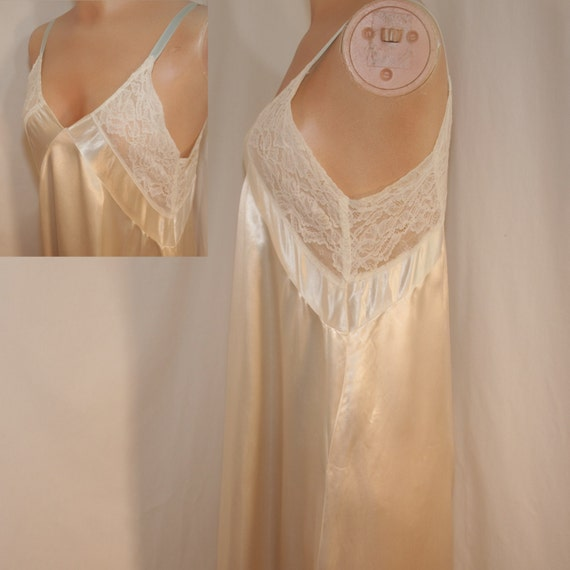 Vintage Rayon Satin Gown with Lace and bows - Huge 114 inch bottom hem