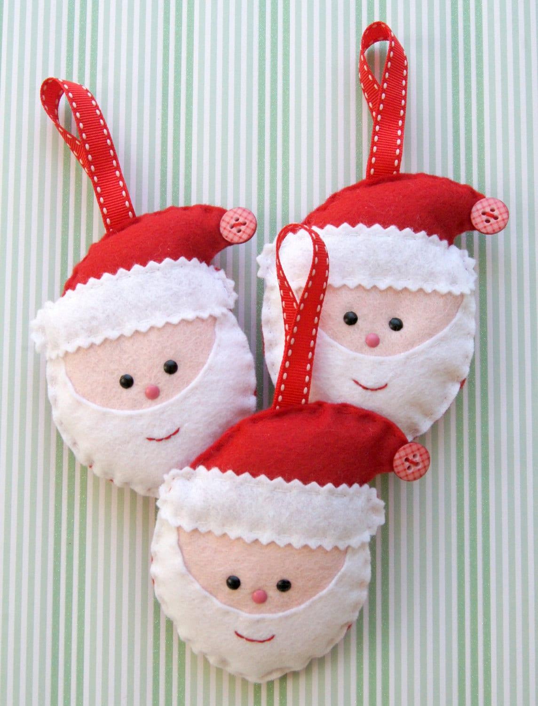 Felt santa decoration set - Figuras fieltro navidad ...