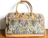 Vintage 1980s Floral Tapestry Carpet Bag Travel Case American Tourister
