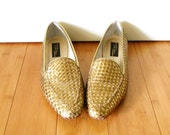 Vintage 1980s Gold Bronze Woven Loafers Flats Sz 9.5 Euro 41