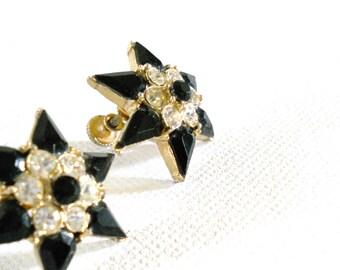 Vintage 1950s Black and White Star Rhinestone Earrings