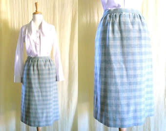 Breath of Fresh Air - Vintage 1970's Blue Gingham Plaid Wool Skirt 12 M