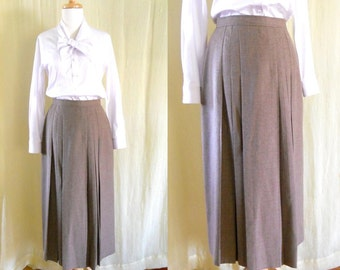 Vintage 1980's Tan Pleated Wool Long Winter Skirt 8