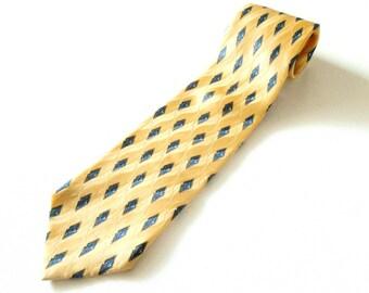 Men's Vintage Handmade Gold Yellow Print Silk Tie