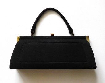 Vintage 1960s Black Velvet Evening Frame Purse Hand Bag