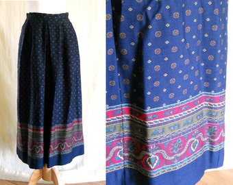 Vintage 1970s Navy Blue Pleated Floral Paisley Maxi Skirt 8