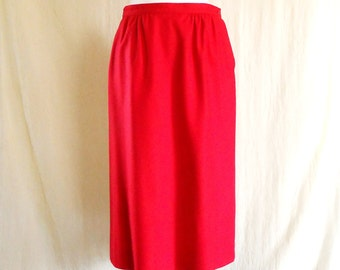 Vintage 1970s Bright Red Wool Skirt Sz 10