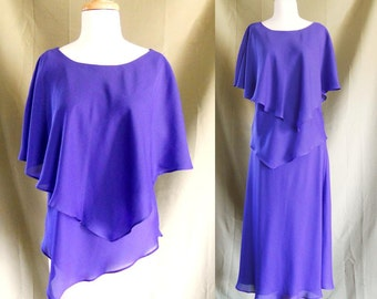 Vintage 1980s Chiffon Purple Flowy Top and Skirt Set Sz 14 P