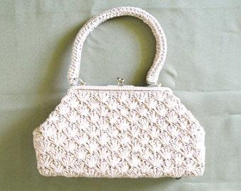 Vintage Beige Woven Crochet Straw Handbag Purse