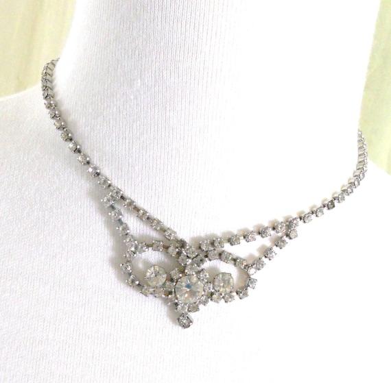 Vintage 1970s Princess Rhinestone Necklace Choker