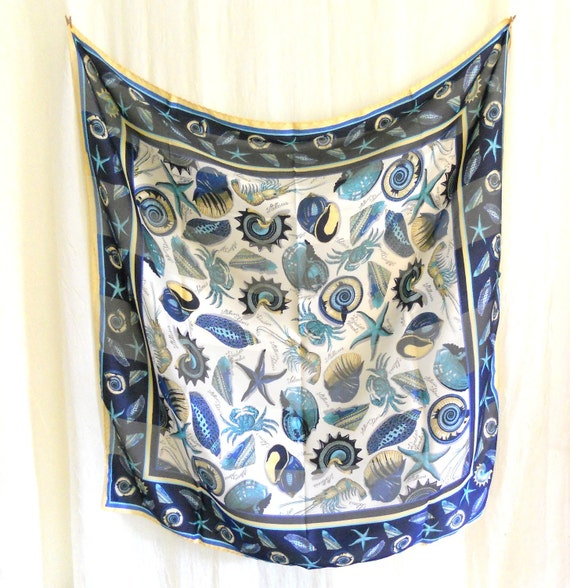 Vintage 1970s Ocean Blue Silk Head Neck Scarf