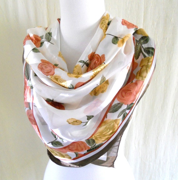 Autumn Roses - Vintage White Stripe Floral Neck Head Scarf