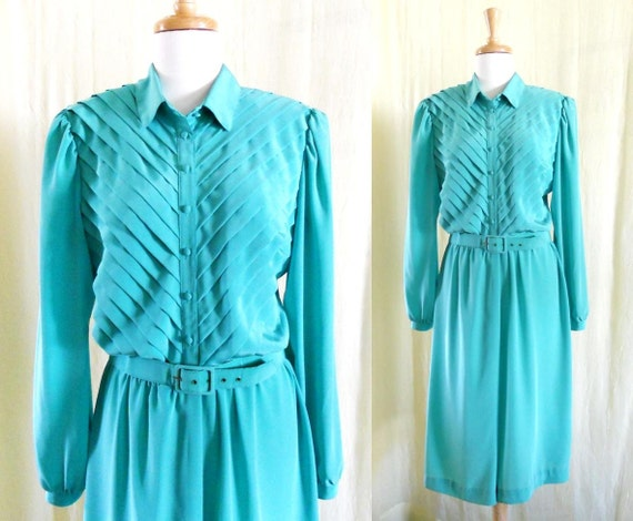 Vintage 1970's Mint Green Pleated Shirt Dress Belt Sz 14