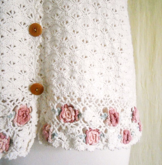 Vintage Crochet Knit White Sweater Vest Sz S