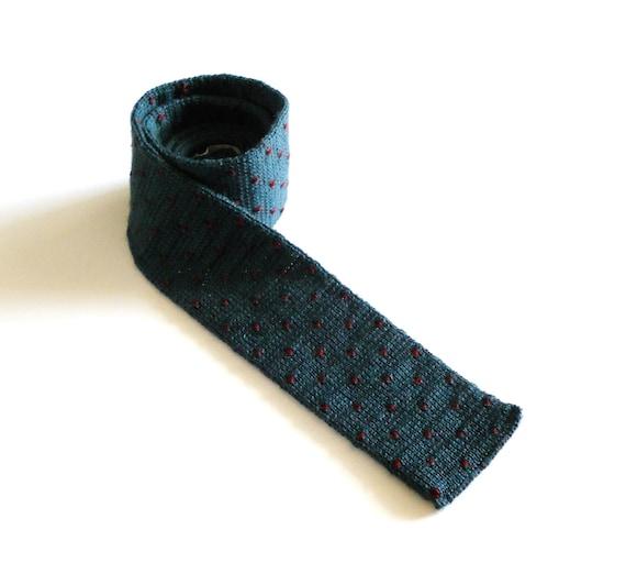Men's 1960s Dark Green Teal Polka Dot Wool Square Neck Tie