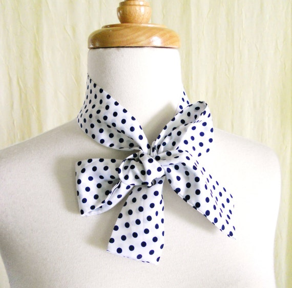 Vintage Women's White Blue Polka Dot Neck Tie Hair Band