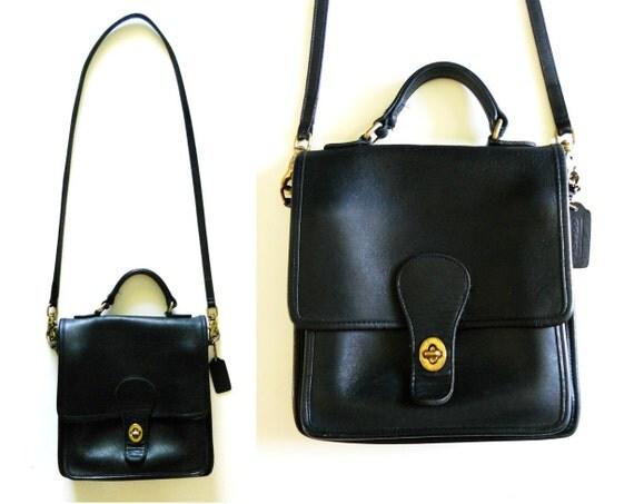 Vintage Coach Licorice Black Leather Cross Shoulder Bag Purse