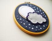 Midnight Moon Embroidery Hoop Wall Art