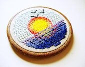 Ocean Sunrise Vintage Inspired Embroidery Hoop Art