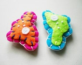 Amoeba Microbe Magnets - Pair of Felt Magnets - Science Biology Microbiology