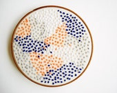 Pointillism - Embroidery Hoop Wall Art - Peach and Navy French Knots and Polka Dots