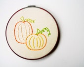 Pumpkin Patch Embroidery Hoop Wall Art - Handmade Autumn Decoration - ON SALE