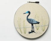 Little Blue Heron - Embroidery Hoop Wall Art - Natural History Bird - Shabby Chic Beach House Art