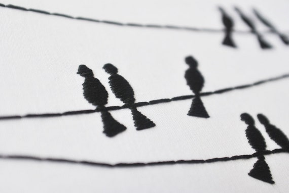 The Birds - Birds on a Wire Silhouette - Embroidery Hoop Art