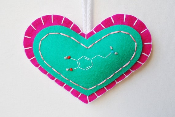 Pleasure Molecule Science Ornament - Dopamine Molecule Embroidery - Chemistry Science Psychology - Christmas Holiday Ornament