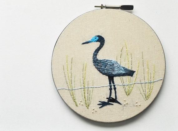 Little Blue Heron - Embroidery Hoop Wall Art - Natural History Bird - Shabby Chic Beach House Art
