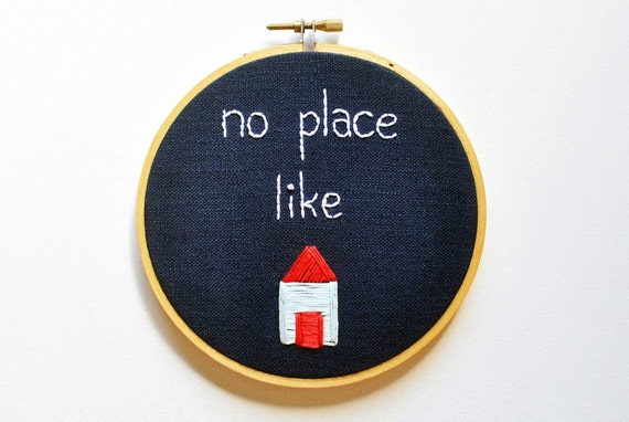 No Place Like Home - Handmade Embroidery Hoop Wall Art - Navy Linen with Pastel Blue and Coral House