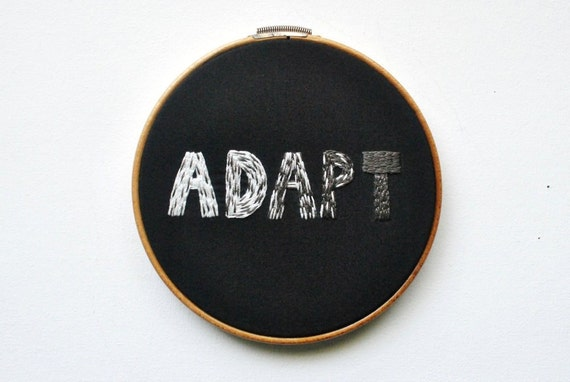 Adapt - Embroidery Hoop Art - Inspired by Evolution of the Peppered Moth - Science Darwin