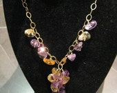 Amethyst And Citrine Dangle Necklace - Mothers Day Sale - Get 10%off everything in the store by using 'MOM11' coupon code