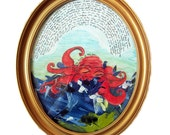 The Sea - Original Framed Collage Oval Painting