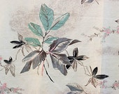 Vintage Barkcloth Fabric Teal and Gray