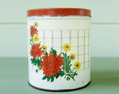 Vintage NC Tin Canister with Flowers